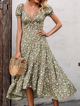 Bohemian Short Sleeve Women Floral Midi Dress