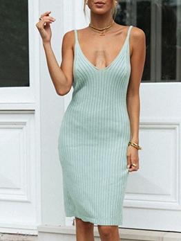 Sexy Knit Backless V Neck Sleeveless Dress