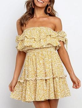 New Design Animal Printed Off Shoulder Summer Dresses