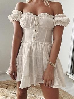 Casual Off Shoulder Short Sleeve a Line Dress