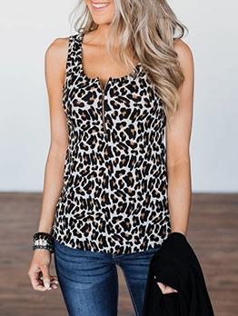 U Neck Zipper Leopard Print Tank Tops For Women