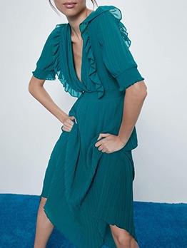 Spring Green Slim Waist Ruched Short Sleeve Midi Dress