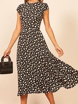 Retro Polka Dots Short Sleeve Mid Dress