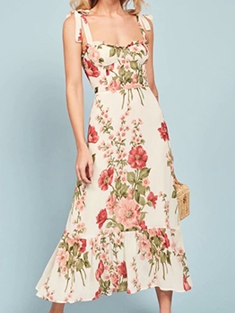 Summer Flower Pattern Slip Beach Midi Dress