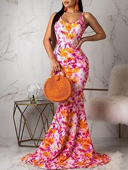 U Neck Backless Print Floor Length Ladies Dress