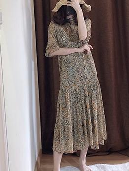 Floral Ruffled Hem Sleeveless Dress