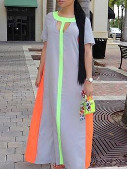 Hollow Out Contrast Color T-Shirt Maxi Dress