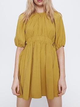 Bow Decor Yellow Short Sleeve Casual Dresses