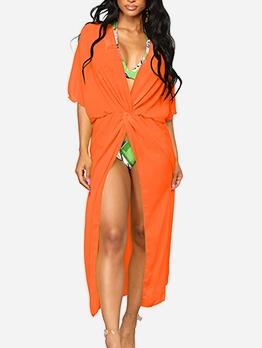 Pure Color Twist Knot Long T Shirt Swimsuit Cover Up