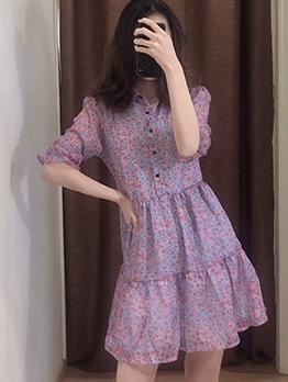 Ruffled Half Sleeve Short Sleeve Floral Dress