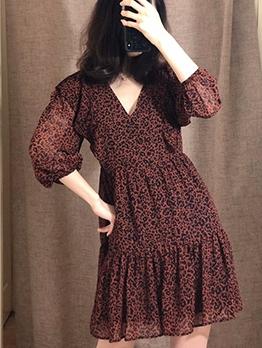 Leopard Printed Ruffled Womens Long Sleeve Dress