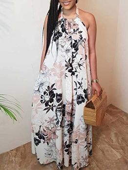 Summer Backless Print Halter Maxi Dress