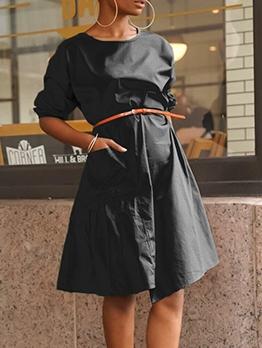 Loose Pure Color Short Sleeve Midi Dress