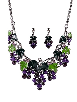 Fashion Grape Necklaces And Earrings Set
