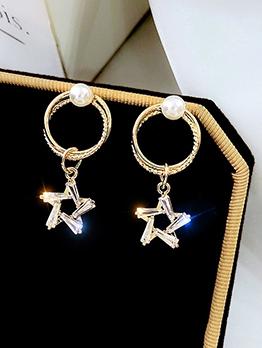 Chic Rhinestone Star Earrings For Women