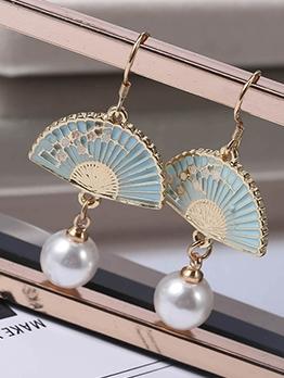 Chinese Style Folding Fan Faux Pearl Earrings For Women