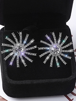 Rhinestone Sun Flower Statement Earrings