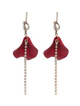 Elegant Rose Petal Rhinestone Long Earrings