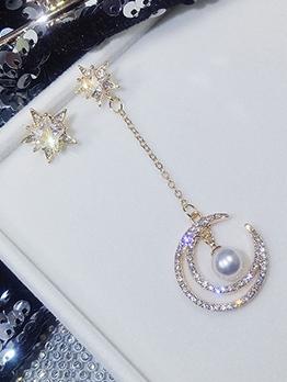 Rhinestone Crescent Star Asymmetric Earrings For Women