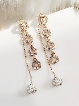 Chic Rhinestone Tiny Ball Long Earrings