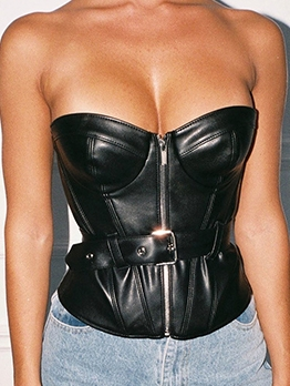 Fashion Zipper Up Black Leather Strapless Camisole