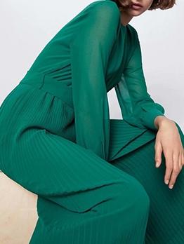 Green Long Sleeve Pleated Wide Leg Jumpsuit