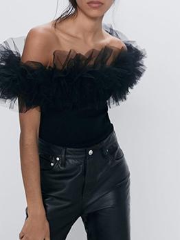 Gauze Ruffle Detail Black Bodysuit