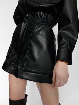 Hot Sale High Waist Black Leather Short Pants