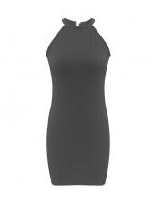 Summer Solid Halter Backless Sleeveless Bodycon Dress