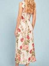 Summer Flower Pattern Slip Beach Midi Dress