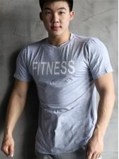 Round Collar Letter Short Sleeve T Shirt Printing