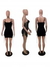 Deep U Neck Lace Up Sleeveless Black Dress