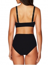 Square Neck Pure Color Skinny Beach Swimsuit Set