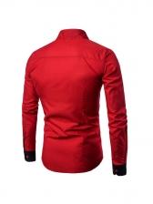 Modern Color Block Men Long Sleeve Shirts