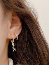 Rhinestone Decor Fishbone Cute Earrings