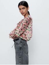 Ruffle Detail Floral Long Sleeve Chiffon Blouse