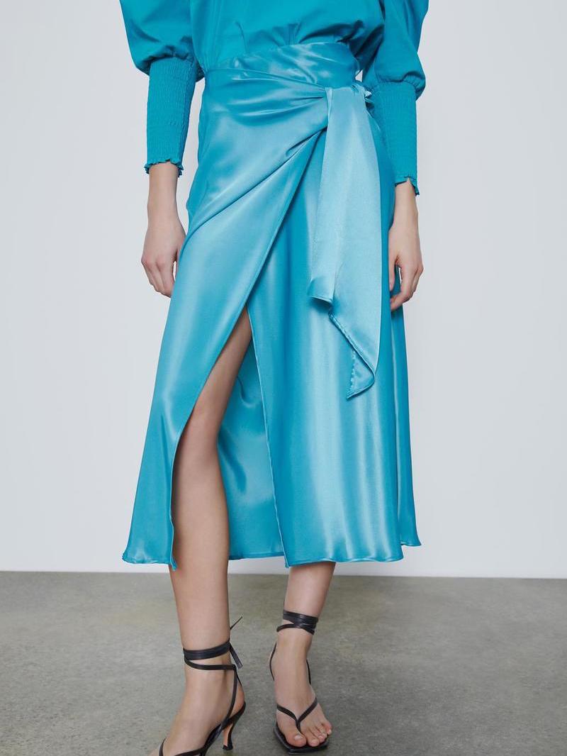 Silk Pure Color Front Tie Midi Dress