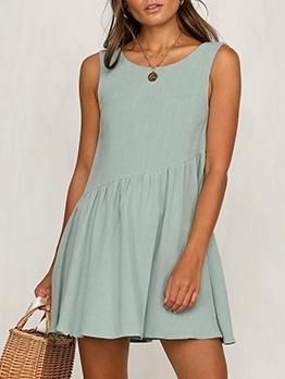 Leisure Pure Color Sleeveless Summer Dresses