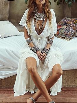 Empire Waist Deep v Summer Maxi Dresses