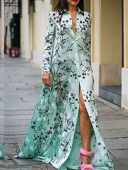Bohemian Single-Breasted Printed Maxi Shirt Dress