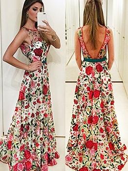 Fashion Embroidery Open Back Sleeveless Evening Dress Sale