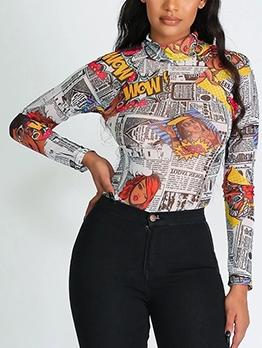 Fashionable Newspaper Printed Long Sleeve Bodysuit
