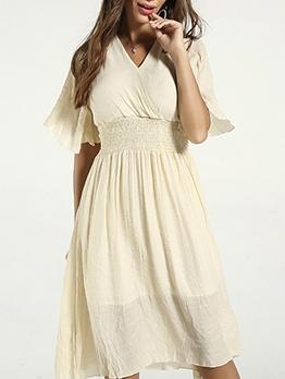 Elastic Waisted Solid Short Sleeve Summer Dresses
