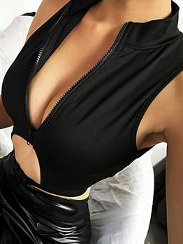 Stand Collar Zipper Buckle Hollow Cut Out Black Tank Top