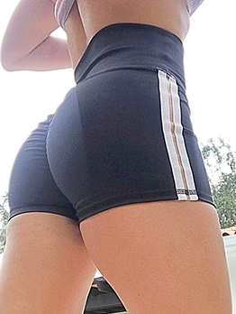 Sports Contrast Color High Waist Short Pants