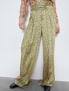 High Waist Floral Wide Leg Pants