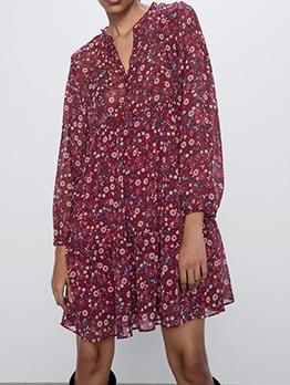 V Neck Thin Chiffon Red Long Sleeve Floral Dress