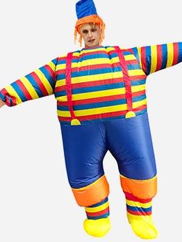 Striped Clown Clos Play Blow Up Suit