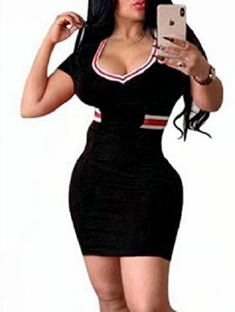 V Neck Striped Detail Short Sleeve Bodycon Dress