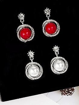 Vintage Rhinestone Faux Pearl Charm Earrings